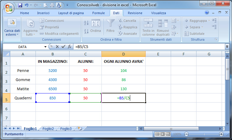 divisione-in-excel
